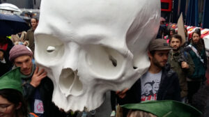 Extinction Rebellion art seized by police includes Ron Mueck skull